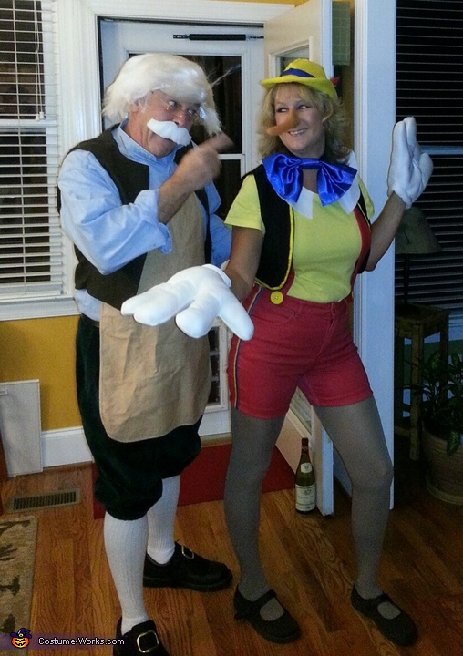 Pinocchio caught in a lie, Geppetto and Pinocchio Couple Costume