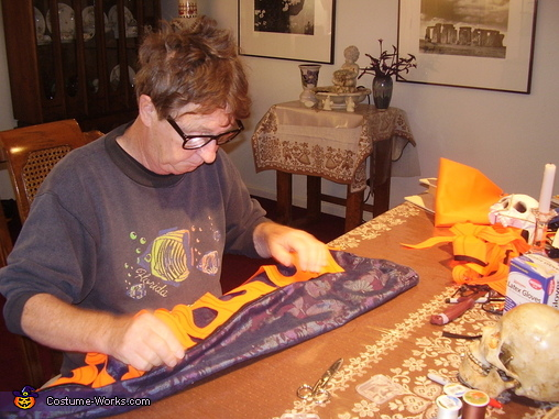 David sewing the flames, Ghost Riders Costume