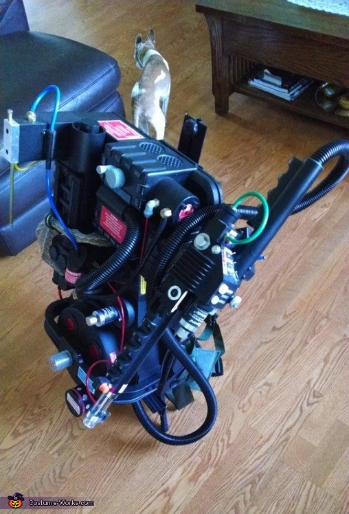Finished Proton Pack on stand, Ghostbuster Outfit Costume