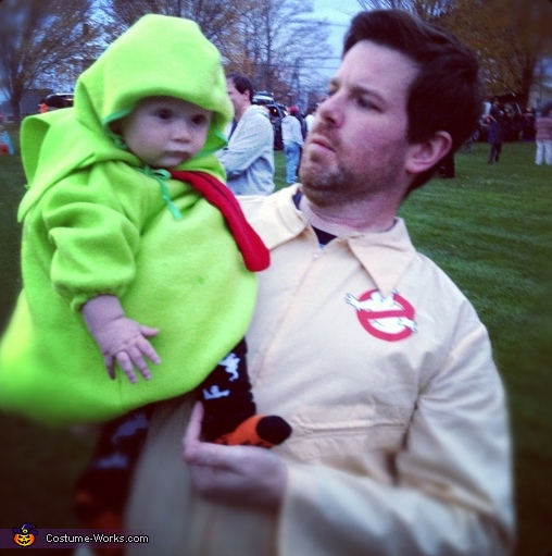 Slimer and Daddy Ghostbuster, Ghostbusters Family Costume: Ghostbuster, Stay Puft Marshmallow Man, and Slimer