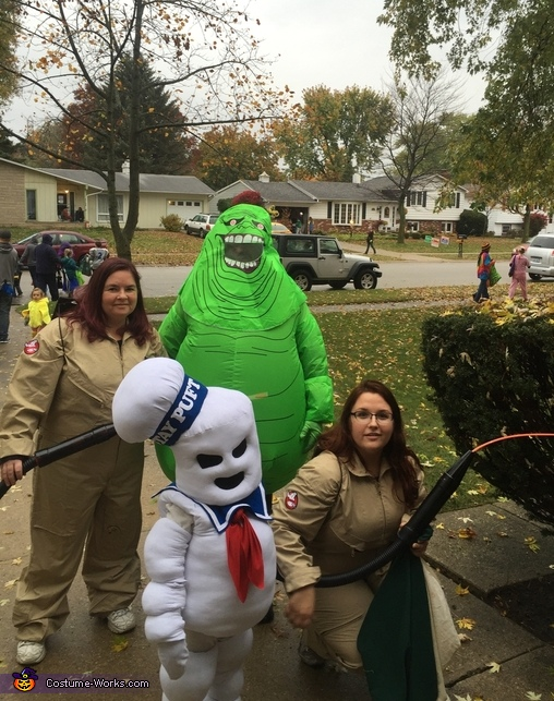 Ghostbusters, Slimer, and the Stay Puft Marshmallow Man Costume