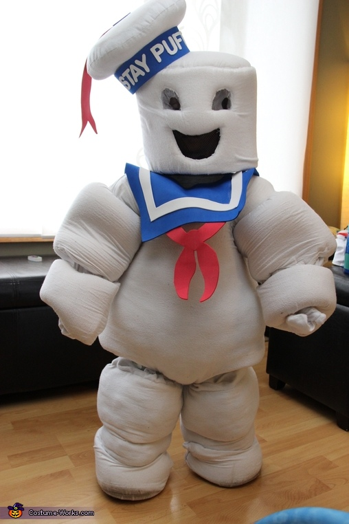 3 Year old Son as the Stay Puft Marshmallow Man, Ghostbusters Family Halloween Costume