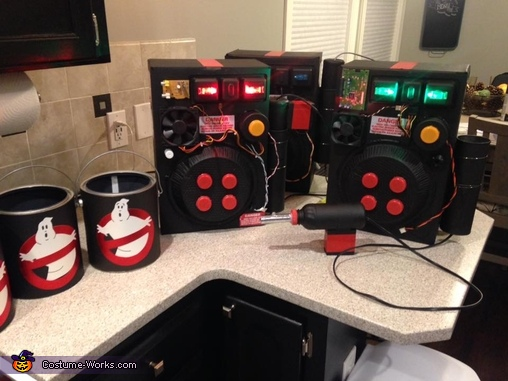 proton packs and candy buckets ready to go!, Ghostbusters Costume