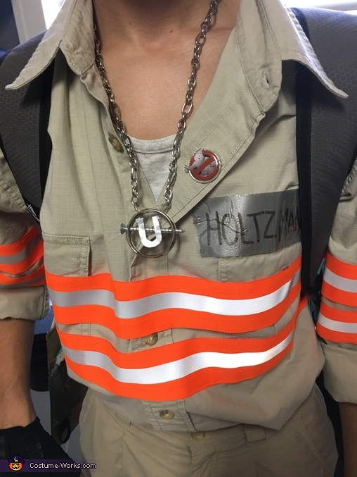 Close-up of the jumpsuit details, Ghostbusters Jillian Holtzmann Costume