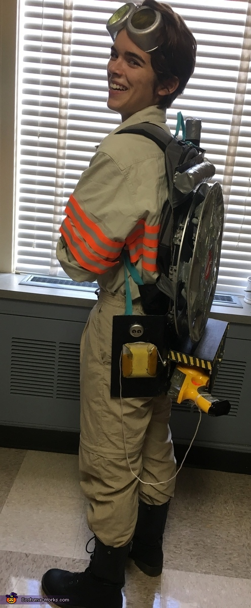 Left-side full view of costume, Ghostbusters Jillian Holtzmann Costume