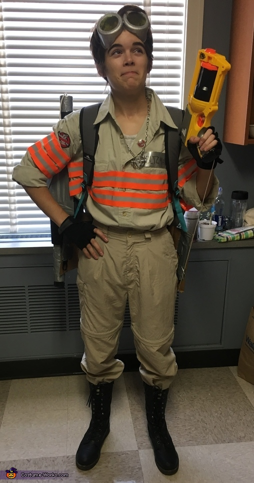 Full costume view with the Nerf gun removed from its holster, Ghostbusters Jillian Holtzmann Costume