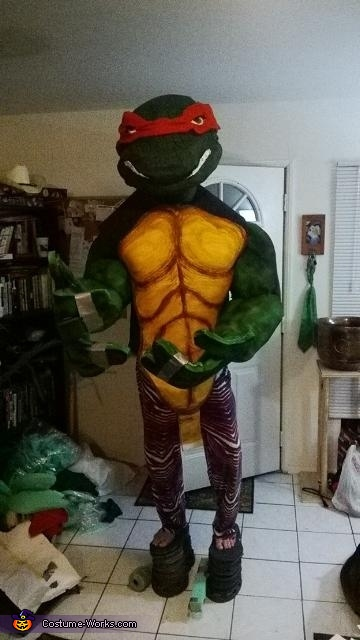 Trying the costume on without the legs or 6 inch platforms.  Dont mind the crazy zubaz pants haha, Giant Ninja Turtle Raphael Costume