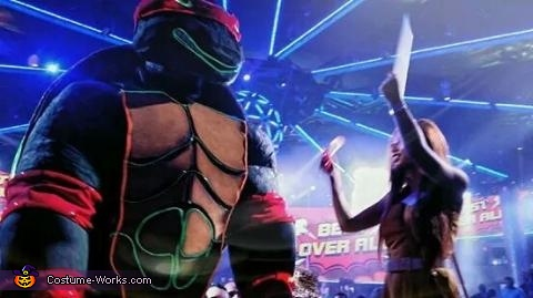 On stage at a club.  He wanted him to look intimidating while being calming as well., Giant Ninja Turtle Raphael Costume