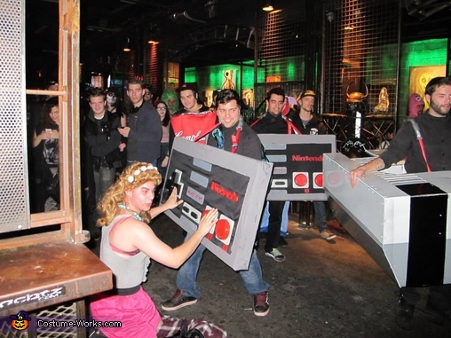 people having fun, Giant Nintendo Costume