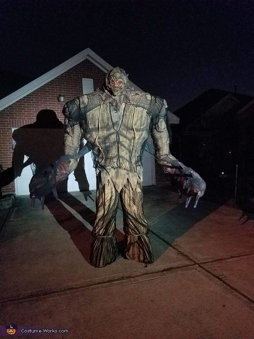 In front of my house; night time., Giant Scarecrow Swamp Monster Costume