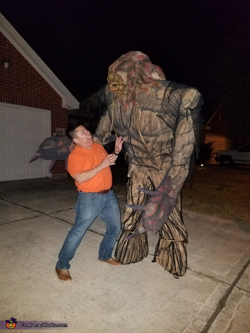 Scaring my brother-in-law., Giant Scarecrow Swamp Monster Costume