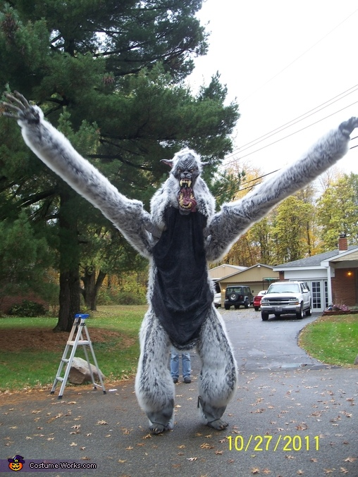 scaring , Giant Werewolf Costume