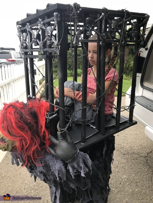 Girl Trapped in Cage by Monster Homemade Costume