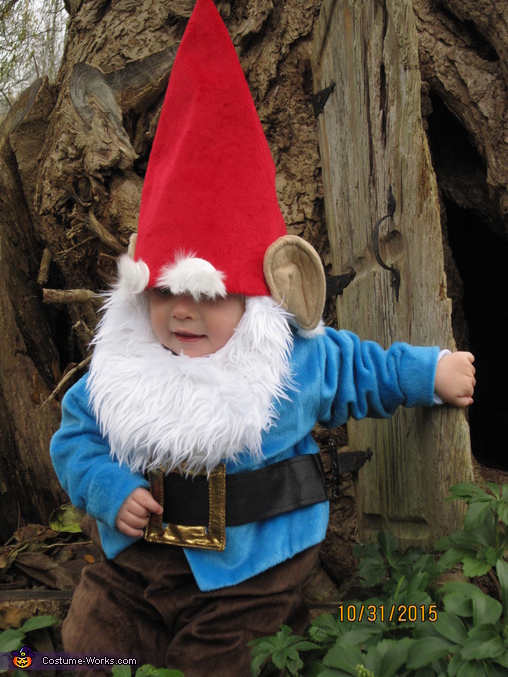 Anthony going inside his tree for now., Gnome Baby Costume