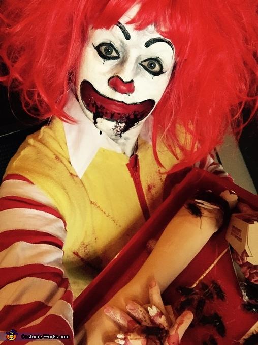Close up, Gory Ronald McDonald Costume