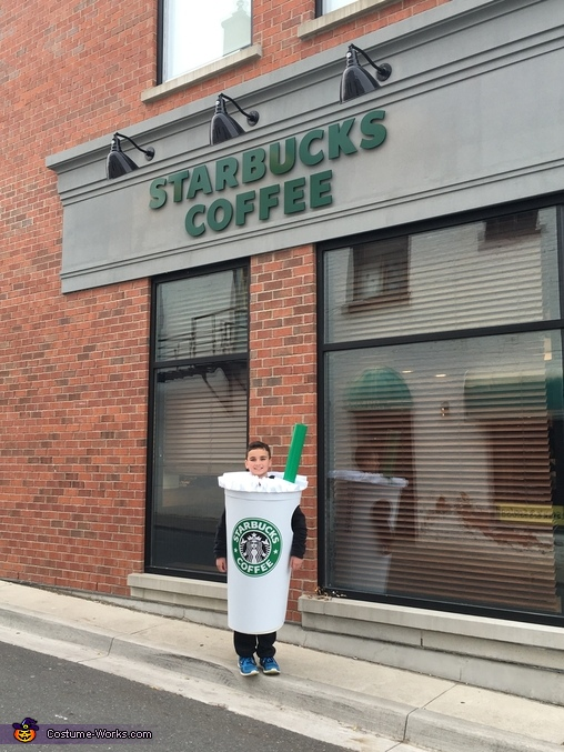 Grande Frappuccino standing outside of Starbucks, Grande Frappuccino and Short Puppuccino Costume