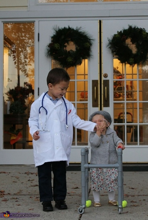 Granny giving her doctor a kiss on the hand, Granny Addie and Dr. Case Costume