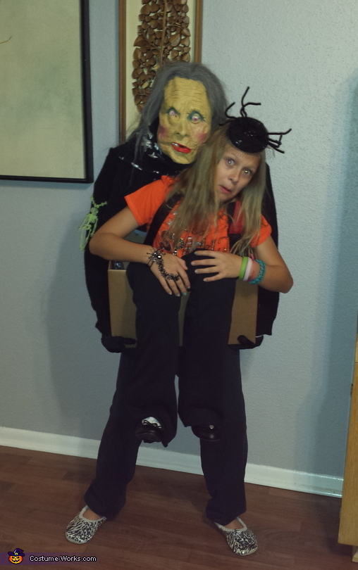Granny Spook carrying Kay in a Box Costume