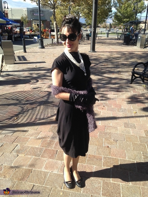 Full length outside Audrey, Grayscale and Color Breakfast at Tiffany's Costume