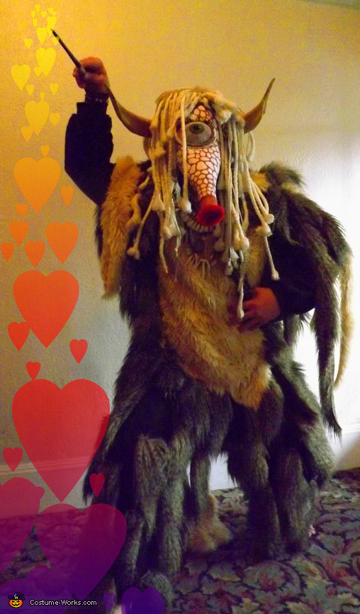 Casting his love spell, Greater Spotted Kissing Monster Costume