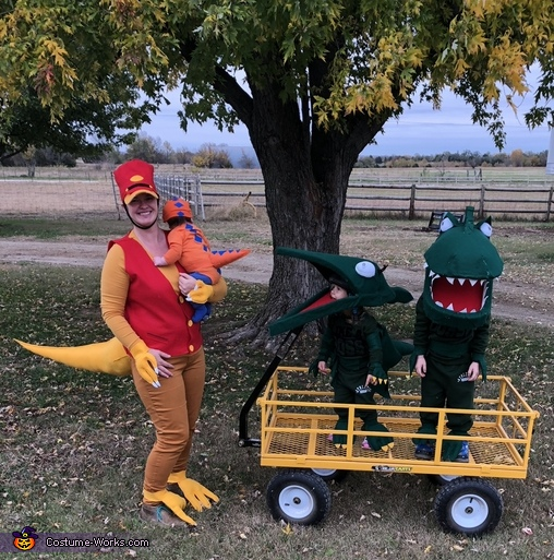 With the family and the whole Dinosaur Train, Green T Rex from Dinosaur Train Costume