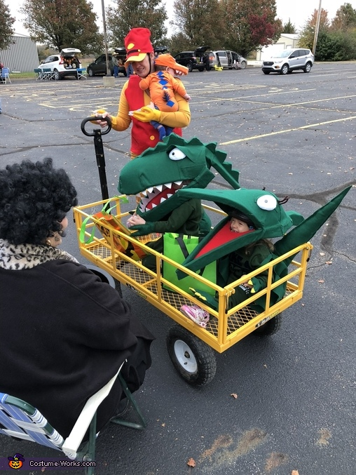 """Trick or treating in the """"Train"""", Green T Rex from Dinosaur Train Costume"""