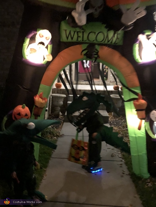 Trick or treating, Green T Rex from Dinosaur Train Costume