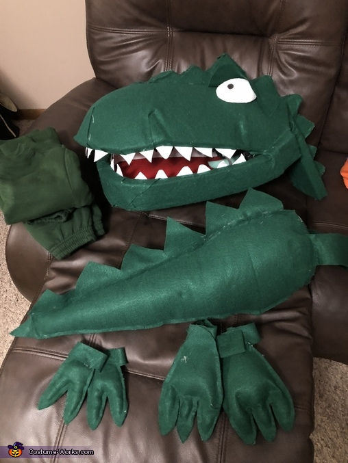 All costume pieces, Green T Rex from Dinosaur Train Costume