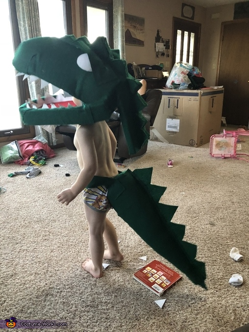 During the build, Green T Rex from Dinosaur Train Costume
