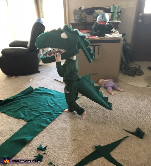 During the build, he has played with it daily, Green T Rex from Dinosaur Train Costume