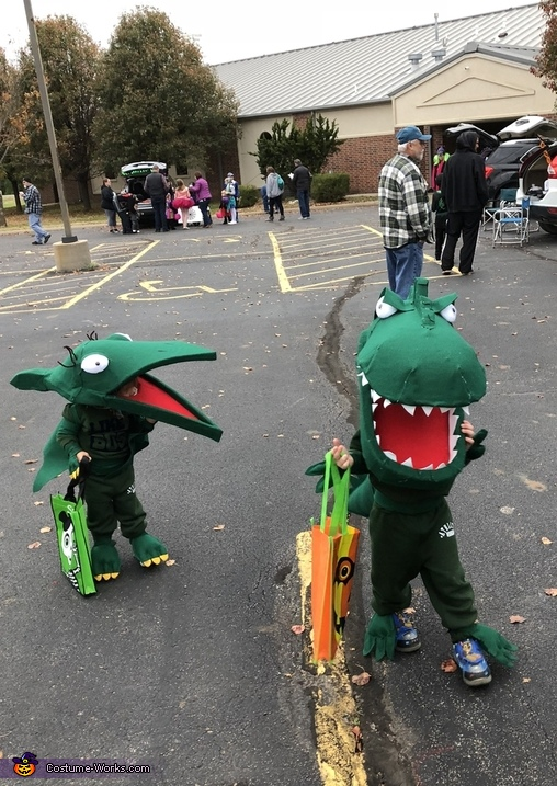 With sister (Ages 2 & 3), Green T Rex from Dinosaur Train Costume