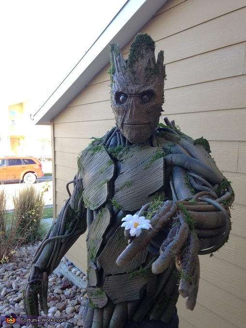 First time wearing Groot, Homemade Groot Costume