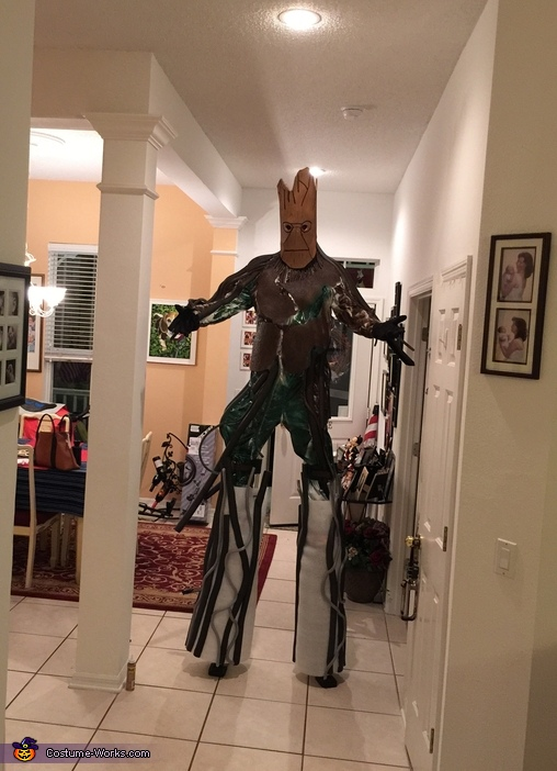 Trying it on with stilts, Groot and Rocket Costume