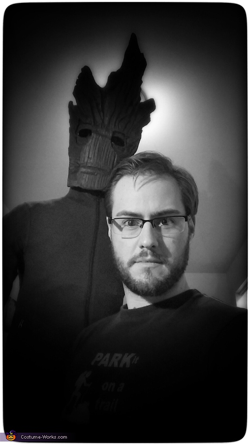Hagin' out with Groot before the long process of shaping his body. (He's so tall!), Guardians of the Galaxy Groot Costume