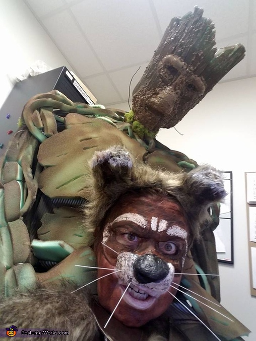Up close view of costume at my desk, Guardians of the Galaxy Rocket and Groot Costume