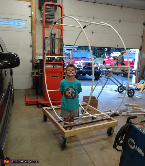 Joshy with the pvc frame work and roller assembly,  Guinea Pig Costume