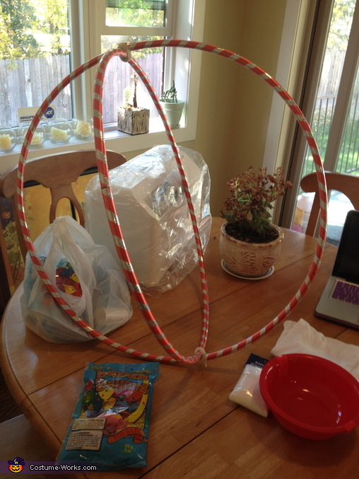 Attaching the Hula-Hoops, Gumball Machine Costume