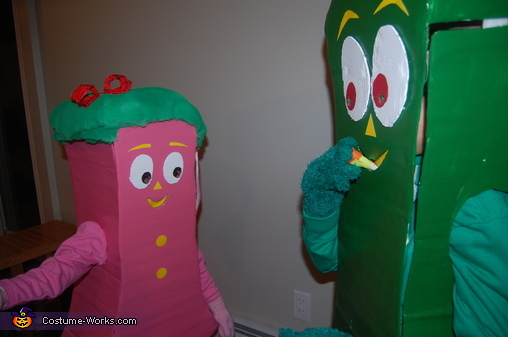 Clay candy corn being eaten, Gumby and Minga Costume