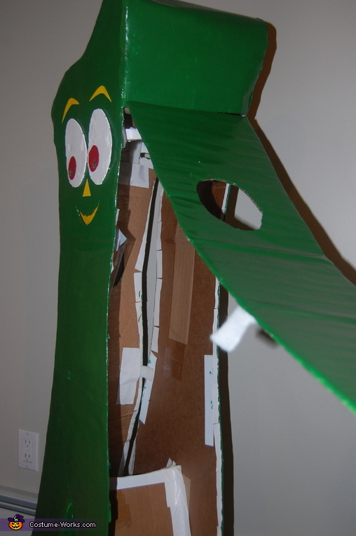 Access and inside view of Gumby costume, Gumby and Minga Costume