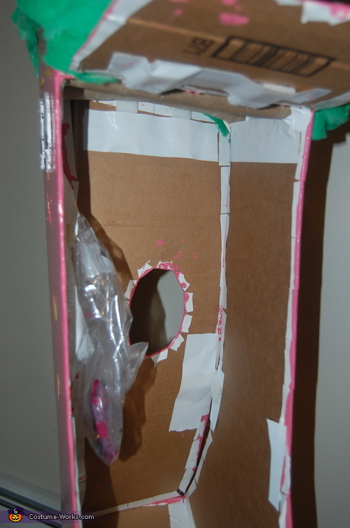 Inside view of Minga costume with hidden candy bag, Gumby and Minga Costume