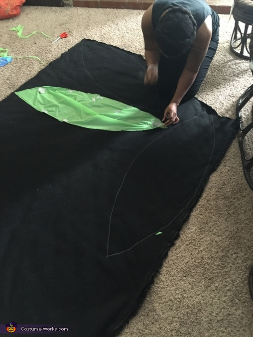 Tracing and cutting out fabric to cover the beach ball, Hairy Spider Costume