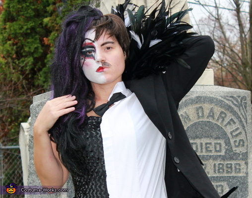 Closeup of face, Half Raven, Half Edgar Allan Poe Costume