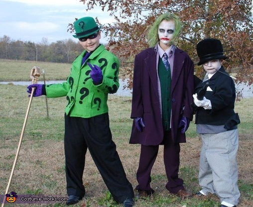 Batman Enemies: Riddler, Joker and Penguin - Homemade costumes for kids