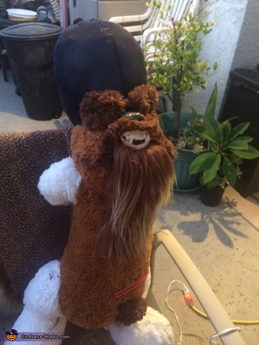 The making of: The head begins to form from a puppy dog, Han Solo Riding Chewbacca Costume