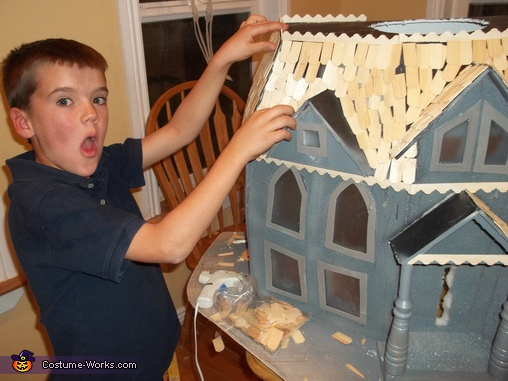 Our Son Working on Shingles, DIY Haunted House Costume