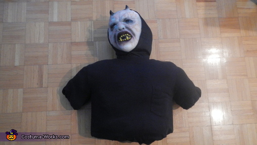 The finished torso with ghoul mask., Head in a Bag Costume