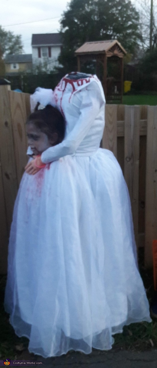 side view, Headless Bride Costume