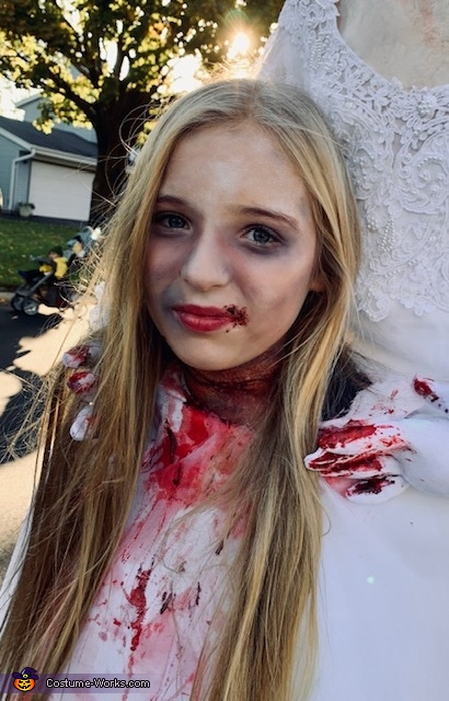 Makeup completed, Headless Bride Costume