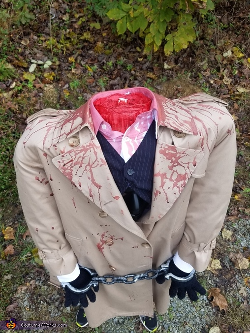 Up close, Headless Lawyer Costume