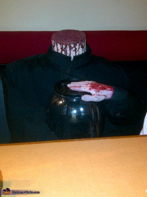 Headless man with head in a jar Homemade Costume